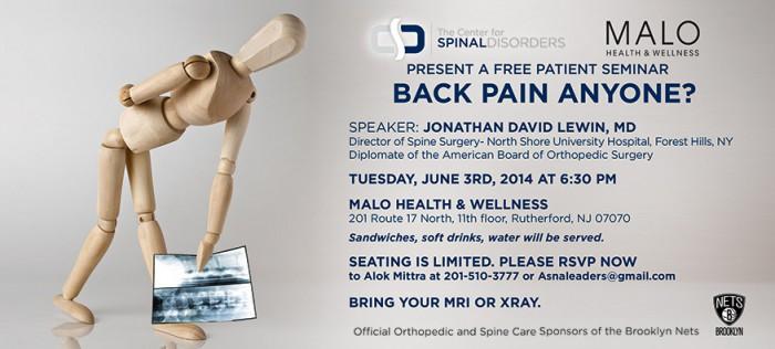 Back Pain Management Seminar Invitation