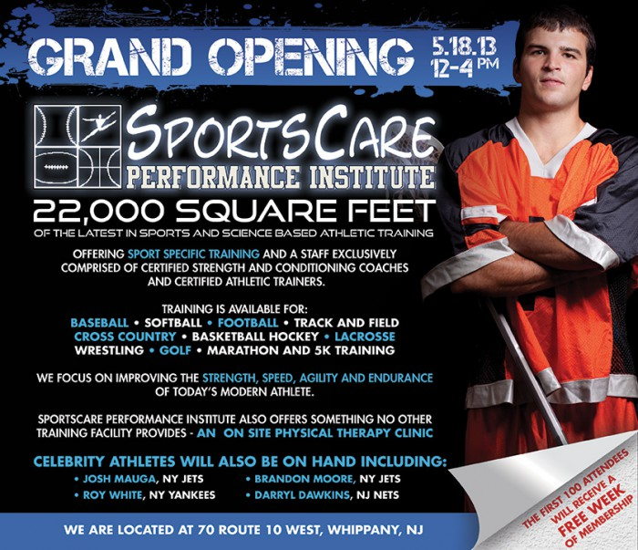 Sports Care Performance Institute Grand Opening Ad