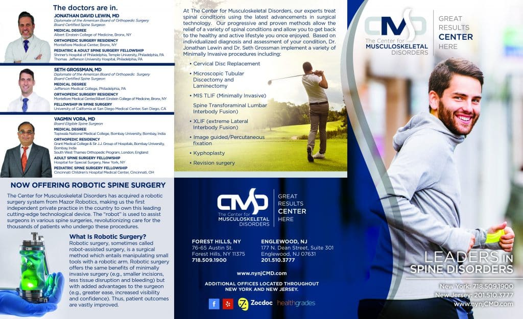 spine treatments brochure design graphics for doctors